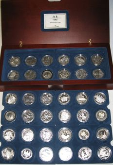 World - Set of 36 coins 1970/1997 '50th Anniversary of WWII End' - Silver