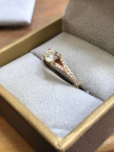 14K Rose Gold Engagement Ring with 0.40 Ct. Diamond - D IF - size 52.5