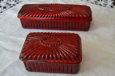 Vintage Art Deco Red Bathroom complete set (2 worked red glass boxes) 1930's