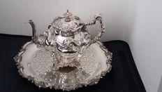 Joseph Wolstenholme, sheffield c.1850 - very rare master piece antique victorian sheffield rococo silver plated teapot.