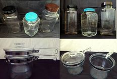 ( Lot ) Three Large Vintage Grocery Jars with Bakelite Lid / Twoo Vintage Pyrex Flameware Double Boiler