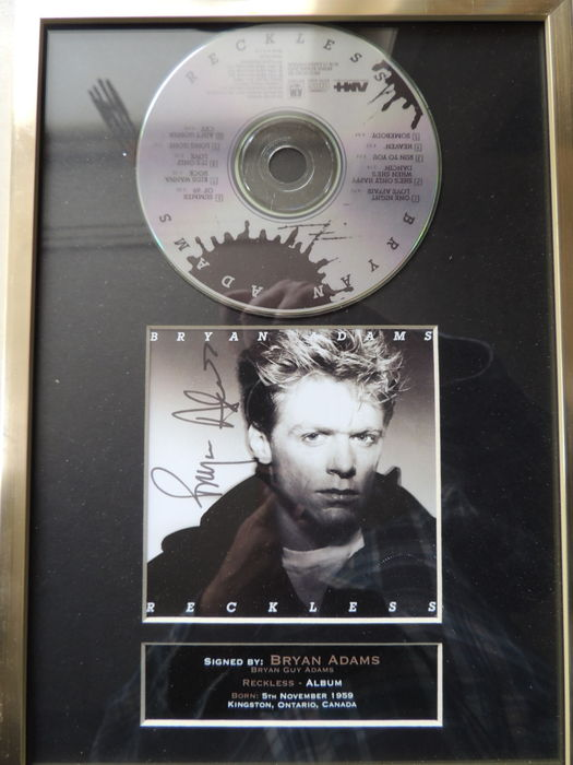 Brain Adams Beautiful Signed (in print) Picture Framed Disc - Titel Reckless-