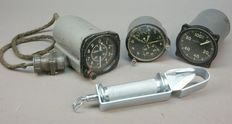 Unique lot of 3 Russian Sovjet Mig CCCP airforce instruments and one canopy knife