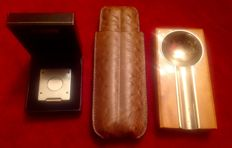 Ostrige cigare case and solingen cigar  cutrter and wooden ashtray