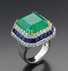 Rare, luxurious emerald sapphire brilliant ring 26.79ct in total, includes 1 emerald from Columbia 20.45ct, 750 white gold