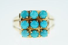 14 kt gold women's ring set with 9 turquoise pearls, sturdily made