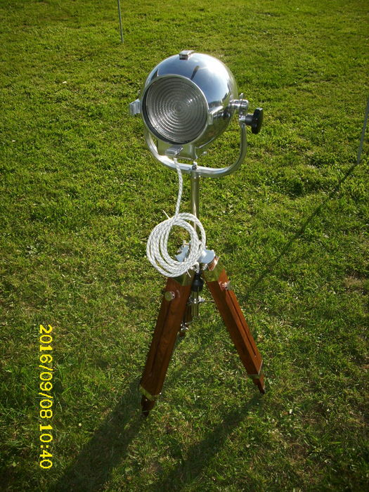 Strand Electric –  vintage Strand Patt 123 stage lamp on a beautiful new tripod