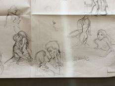 Charles, J. F. - Set of 6 Sketches on a single sheet of paper.