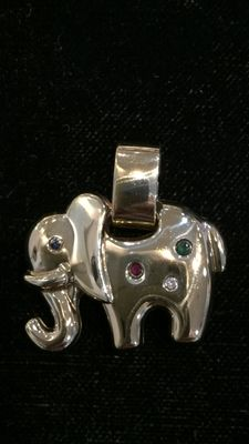 14 kt gold pendant, elephant with ruby, sapphire, emerald and diamond