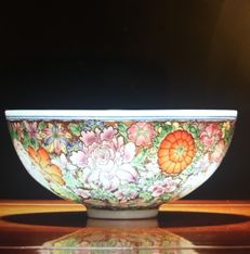 A mille fleur style bowl - China - late 20th/21st century