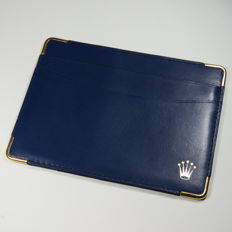 Rolex Blue Leather Cards And Cash Holder