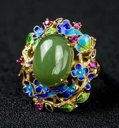 Enamel, nephrite, sterling silver ring ,Weight : approx :12g