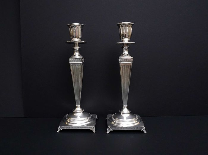 A pair of silver column candle stick holders - ITALY, mid-20th century