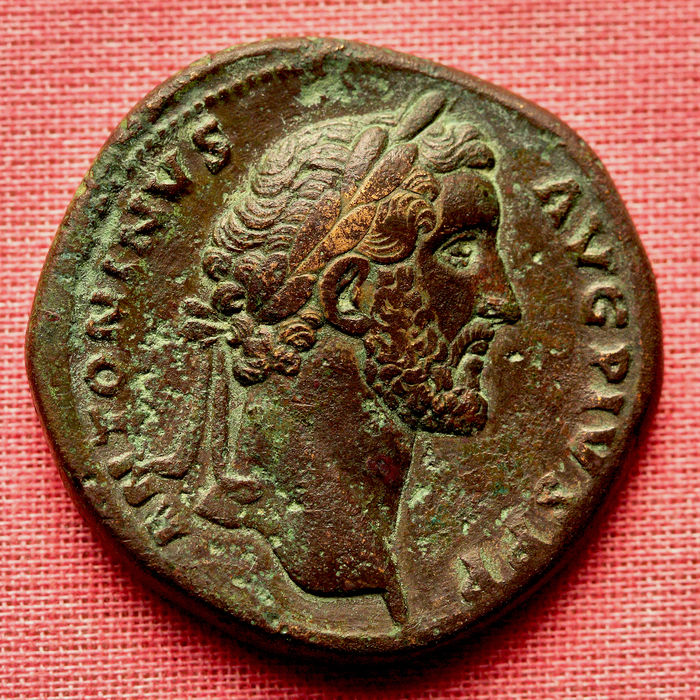 Roman Empire - Antoninus Pius (AD 138-161), AE Sestertius. Janus standing facing, looking both left and right Rare