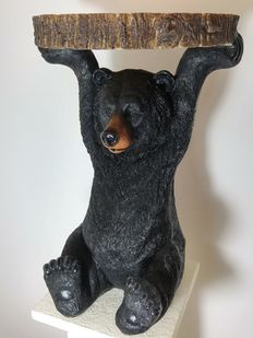 Side table / table supported by a bear - table top imitates a tree sheave