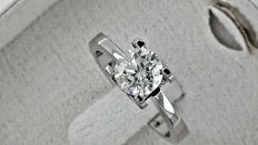 1.01 ct  round diamond ring in white 14 k gold - size 6