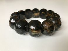 Genuine Baltic Amber faceted cut beaded bracelet, 46 grams, dark marble colour