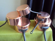 Set of tinned copper pans 1960/1970