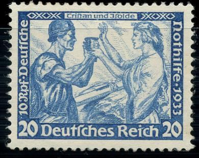 German Reich 1933 – German emergency aid, Richard Wagner, 20 Pfg perforated 14, Michel 505B