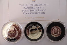 United Kingdom - 1, 2 and 5 Pounds 2017 'Sapphire Jubilee Solid Silver Proof Coin Collection' (3 pieces)