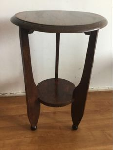 Amsterdam school side table on black rounded legs, c. 1930