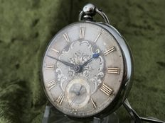 English, fusee pocket watch - silver dial - around 1880.