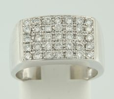 White gold men's ring in 14 kt with 35 diamonds, approx 0.70 ct - Ring size 17.25 (54)