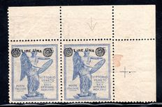 "Italy 1924 -  ""1 l. su 25 cent oltremare""  with watermark variety ""Piccola Croce"" - SASS# 161d"