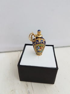 Pendant – perfume holder, in gold and enamel, with lapis lazuli – 1970s, made in Italy