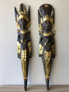 2 large wooden wall decorations - Rama and Sita - Bali - Indonesia