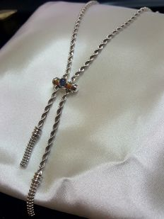 """Saliscendi"" chain in 18 kt gold with blue stone – 29.5 cm"