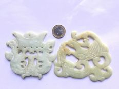 Nephrite jade – 2 large pendants with dragon and phoenix – 1960/1980