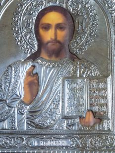 Byzantine - 925/1000 silver laminate - icon of Christ Blessing - Italy - 20th century