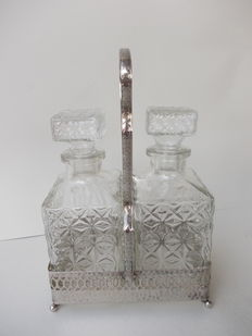 Pair of vintage glass bottles for alcohol with dish, silver plated