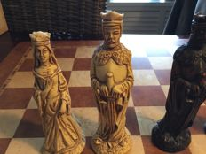 Set of chess pieces, Studio Anne Carlton, theme catholic/protestant   Excluding chessboard