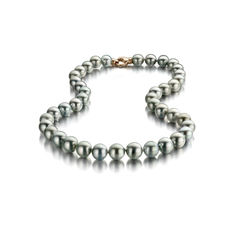 Metallic Grey Tahitian Pearl Necklace 9x11.9mm with Ordinex Certificate