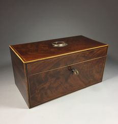 Mahogany Regency tea caddy with intarsia - England - beginning of the 19th century