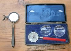 Two Liebreich's ophthalmoscopes with box