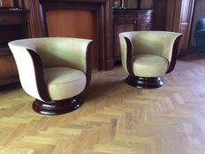 Pair of French Art Deco - style club armchairs - walnut wood recently upholstered, in perfect condition.
