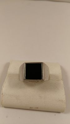 Men's ring – Sterling silver with black onyx – Size 21.