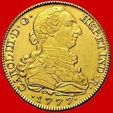 Spain – Carlos III – (1759-1788). 8 gold escudos – 1777 – Madrid. Rare.