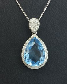 Gold necklace with topaz and diamonds pendant-14 ct yellow gold - 56 diamonds 0.3ct total - topaz 10,29 ct - length: 45cm