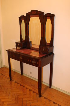 Art Deco Vanity dressing table in noble wood bevelled glass