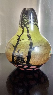 Old pear-shaped glass vase - signed Touchard