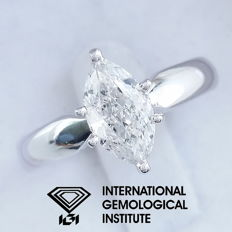 IGI 1.00 ct Marquise Brilliant Cut Diamond Engagement Solitaire Ring-14 kt / 585 white gold, size 54 / 17.20 mm ***Free Resize***