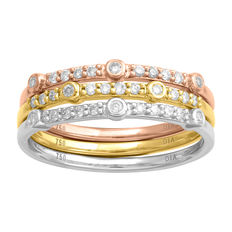 18kt white, pink and yellow gold matching eternity bands set with round brilliant diamonds, 0.33ct total diamond weight. Size 54/N (free re-sizing in Antwerp)