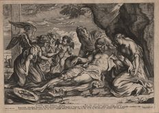 Anthony van Dyck ( 1599 - 1641) - The Lamentation, Chirst between Mary and Mary Magdalena - Etched and published by Frans van den Wyngaerde (1614 - 1679) - Around 1640