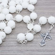 Rosary of White Volcanic Stone with Sterling Silver.