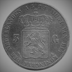 The Netherlands – 3 guilder 1824 U Willem I – Silver