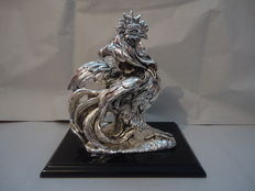 Rooster statue in silver plate 925